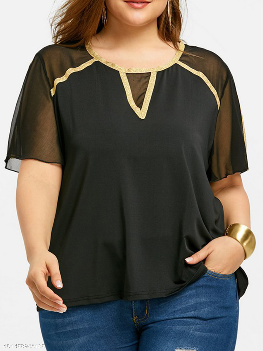Round Neck  Patchwork  Plain  Short Sleeve Plus Size Blouse