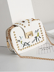 PU Embroidery Chain Shoulder Bags