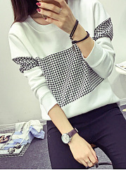 Autumn Spring  Cotton  Women  Round Neck  Patchwork  Houndstooth Long Sleeve T-Shirts