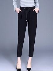 Plain-Drawstring-Pocket-Slim-Leg-Casual-Pants