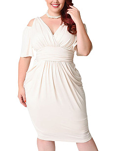V-Neck  Elastic Waist  Plain Plus Size Bodycon Dresses