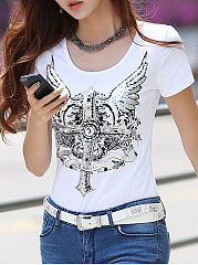 Spring Summer  Cotton  Women  Round Neck  Floral Printed Short Sleeve T-Shirts