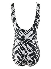 Black White Scoop Neck Printed One Piece