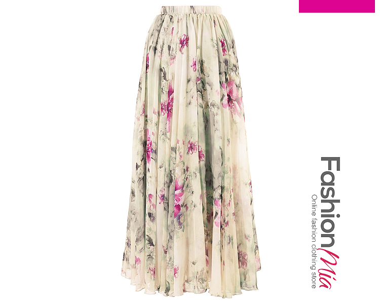 Image of Elastic Waist Flared Maxi Skirt In Floral Printed