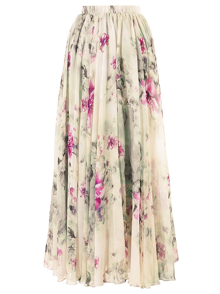 Elastic Waist Flared Maxi Skirt In Floral Printed