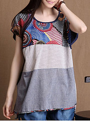 Spring Summer  Cotton/Linen  Women  Round Neck  Asymmetric Hem Patchwork  Floral Printed Short Sleeve T-Shirts
