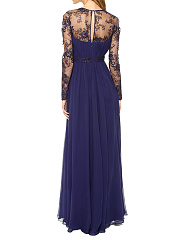 V-Neck  Patchwork Ruffled Hem Side Slit  Back Hole  Lace Plain Evening Dress