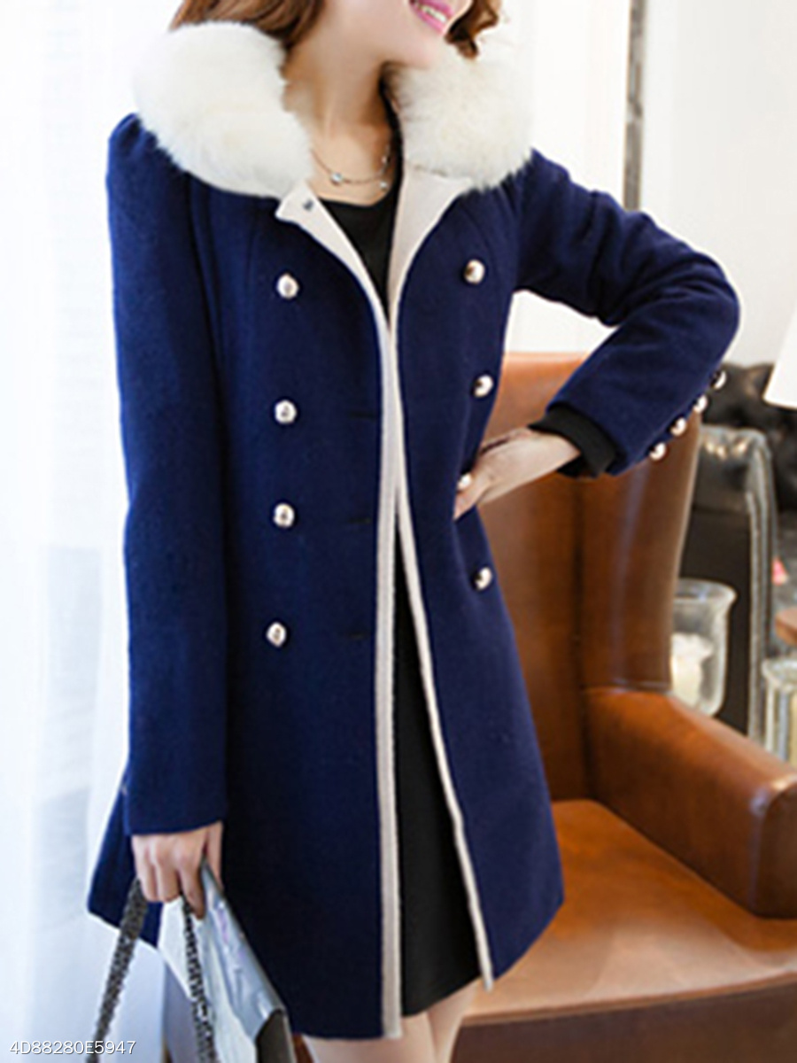Faux Fur Collar  Double Breasted  Plain  Long Sleeve Coats