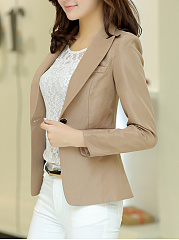 Fold-Over Collar  Plain Blazer