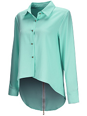 Zips High-Low Plain Long Sleeve Chiffon Blouse