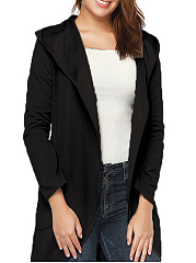 Hooded  Patch Pocket  Plain Cardigans
