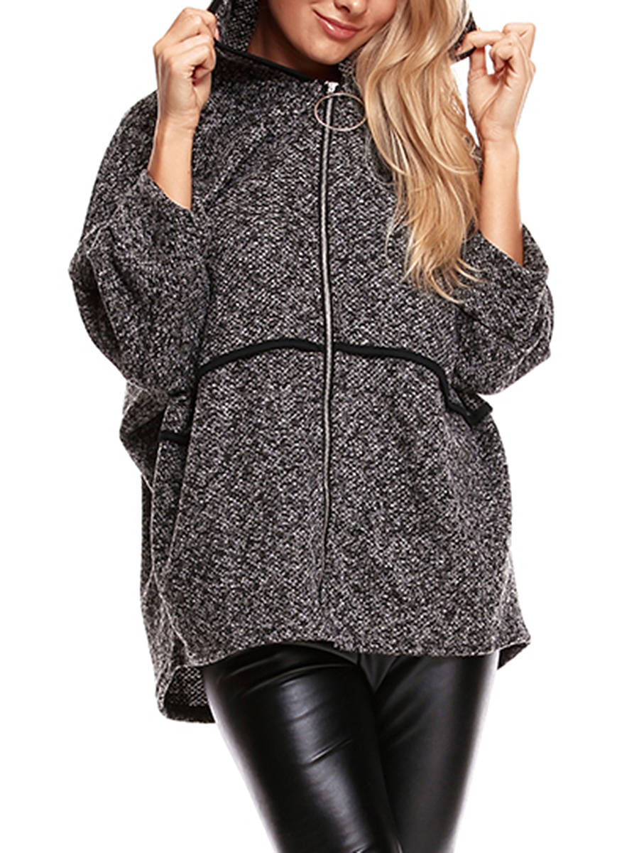 Oversized Hooded Woolen Batwing Sleeve Coat