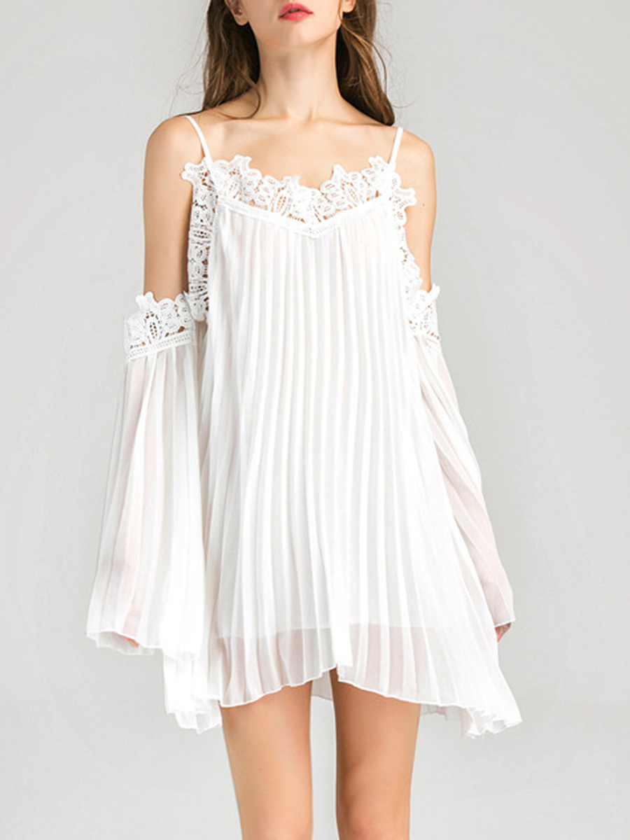 Open Shoulder Decorative Lace Plain Pleated Mini Shift Dress