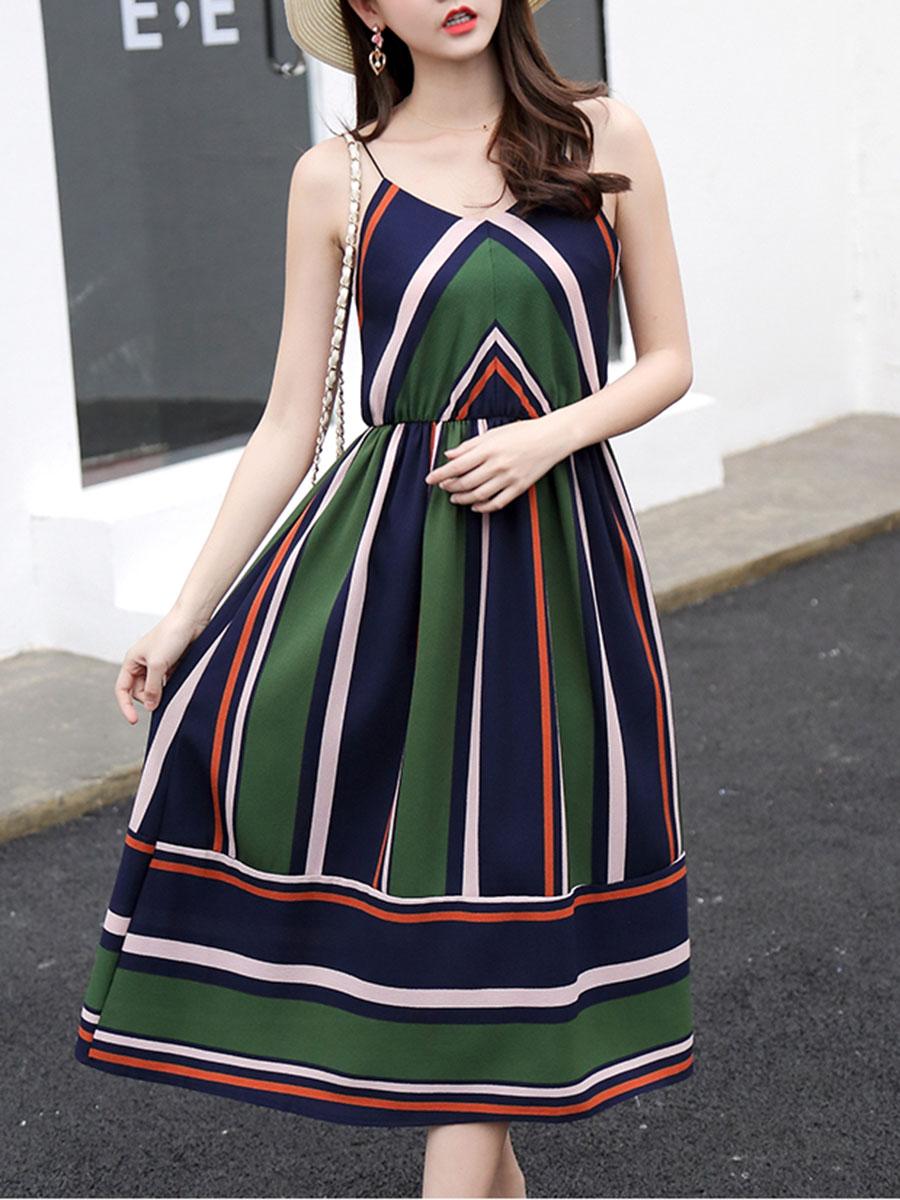 fashion color block striped casual vacation summer flared Spaghetti Strap Color Block Striped Midi Skater Dress