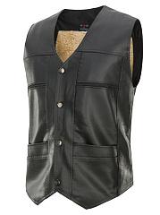 Men-Plain-Fleece-Lined-PU-Leather-Waistcoat