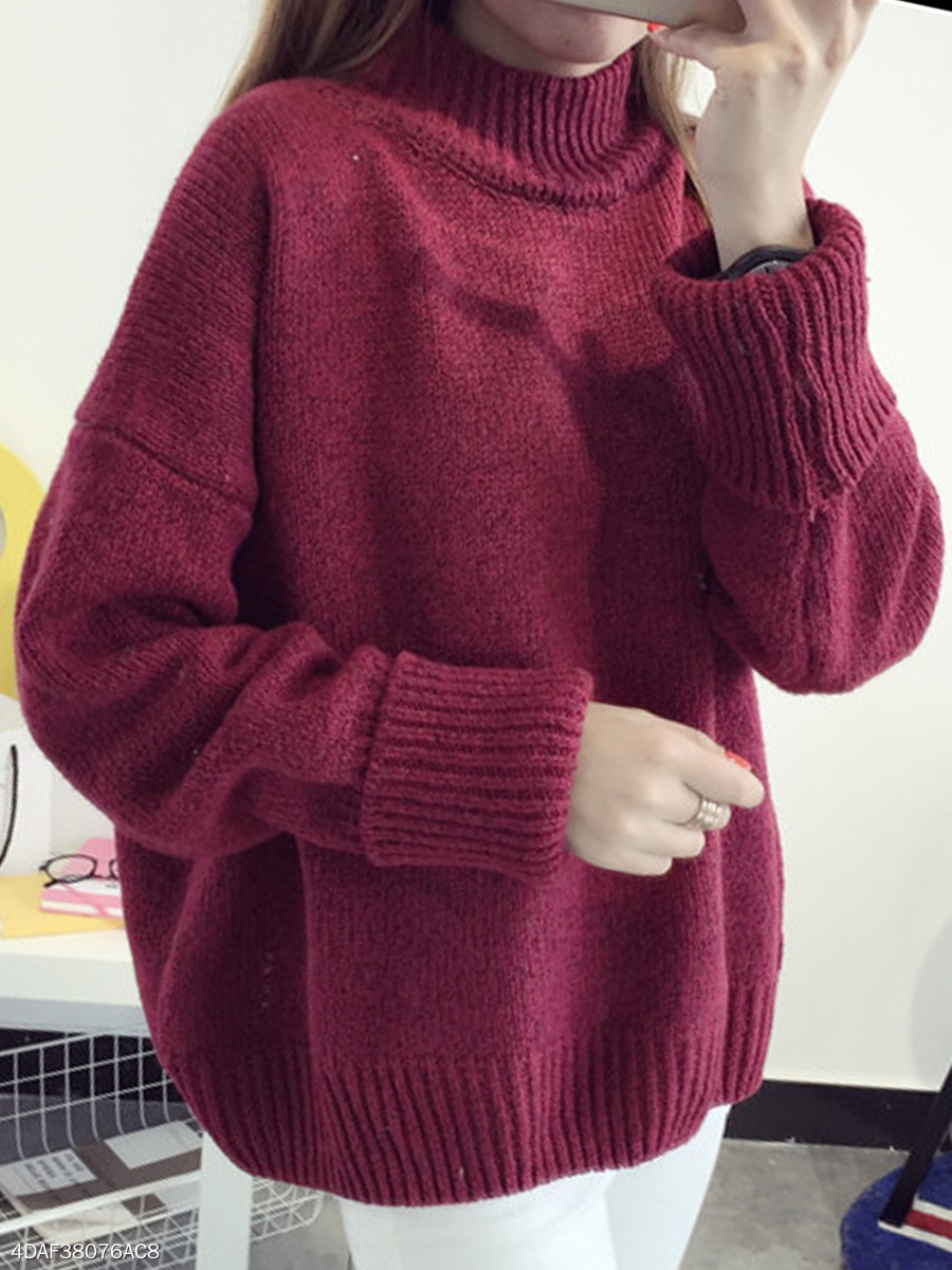 High Neck  Plain Knit Pullover