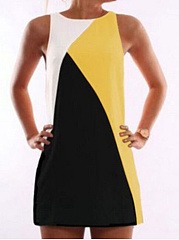 Round Neck  Contrast Trim  Contrast Stitching  Sleeveless Casual Dresses