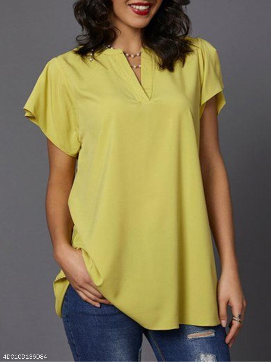 3b00edb9d878e4 Spring Summer Polyester Split Neck Plain Short Sleeve Blouse4DC1CD136D84