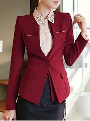 Collarless-Flap-Pocket-Single-Button-Plain-Long-Sleeve-Blazers