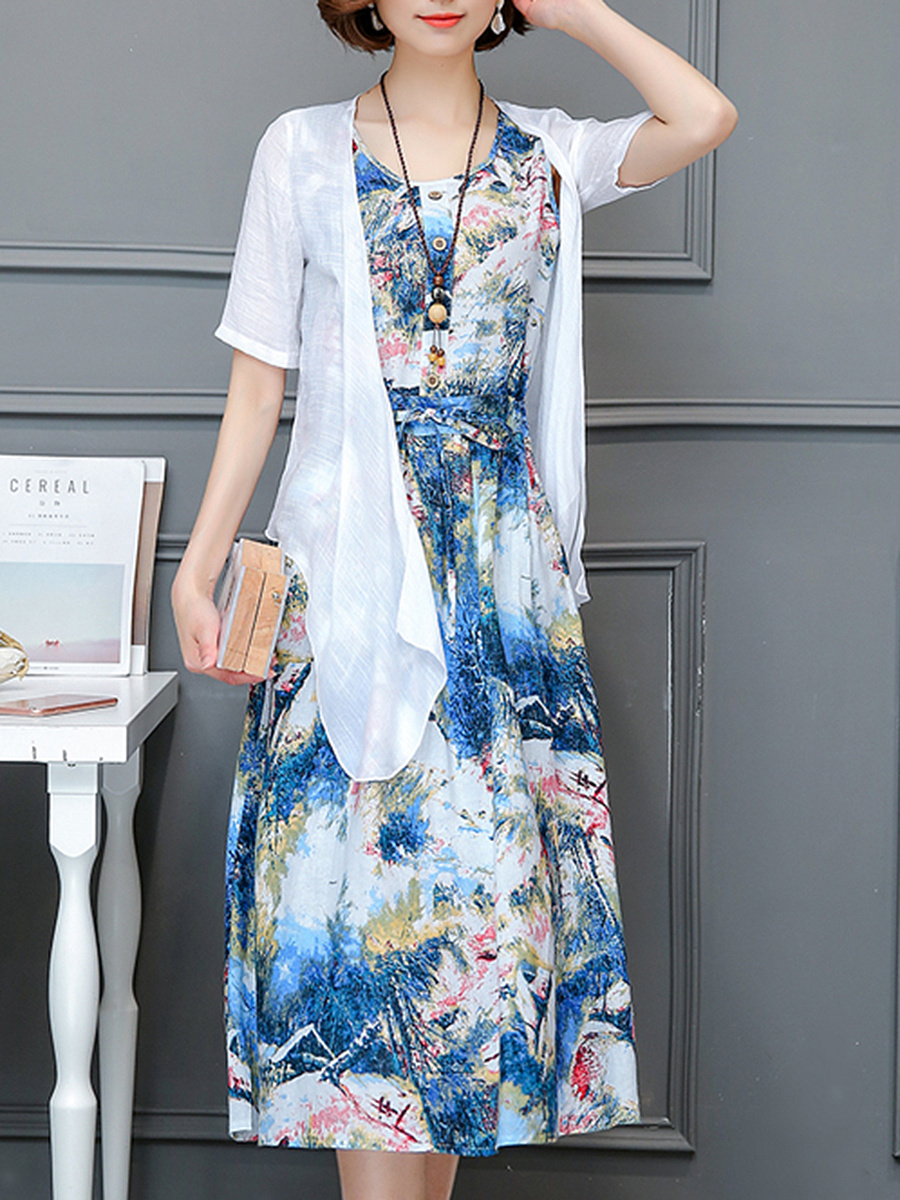Round Neck Drawstring Pocket Printed Two-Piece Maxi Dress
