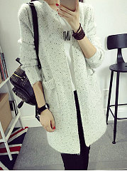Collarless  Patch Pocket  Plain  Long Sleeve Cardigans