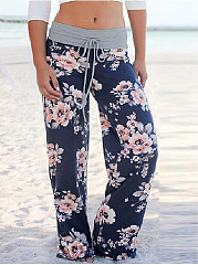 Hot Western Casual Personality High-Rise Wide-Leg Long Floral Print Pants