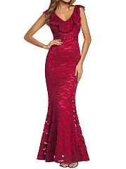 Deep V-Neck Flounce Lace Plain Mermaid Evening Dress