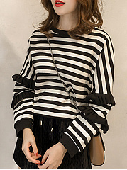 Striped  Long Sleeve Sweatshirts