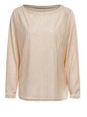 Autumn Spring  Polyester  Women  Round Neck  Plain Striped  Long Sleeve Long Sleeve T-Shirts