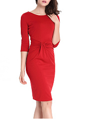 Captivating Round Neck Plain Pleated Bodycon Dresses
