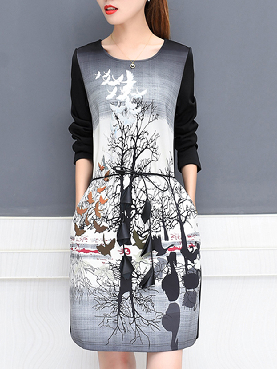 Round Neck Printed Belt Pocket Shift Dress