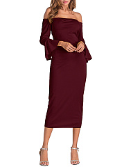 Sexy Off Shoulder Solid Bell Sleeve Long Dress
