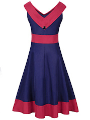 V-Neck Color Block Skater Dress
