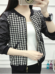 Fold-Over Collar  Slit Pocket Zips  Colouring Houndstooth  Long Sleeve Jackets