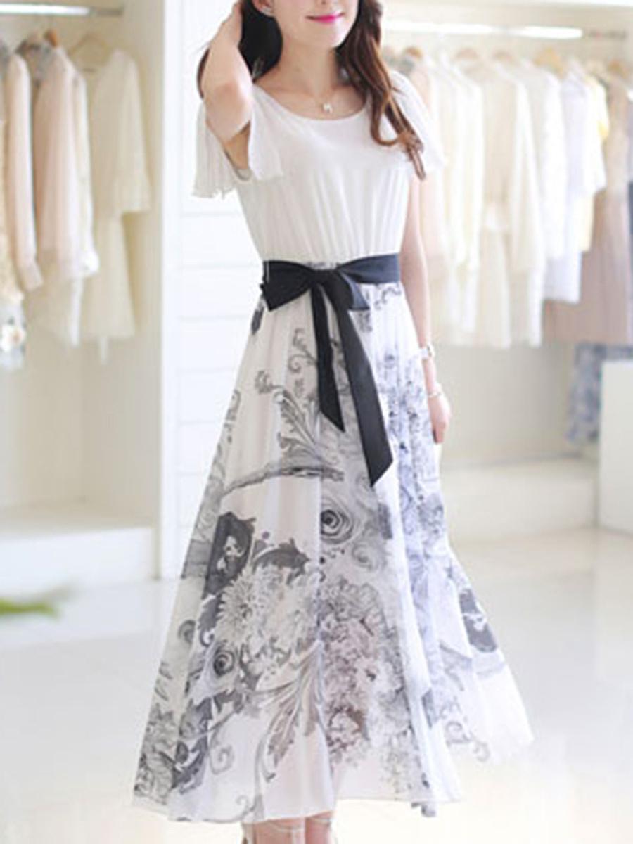 Ruffle Sleeve Bowknot Printed Chiffon Maxi Dress