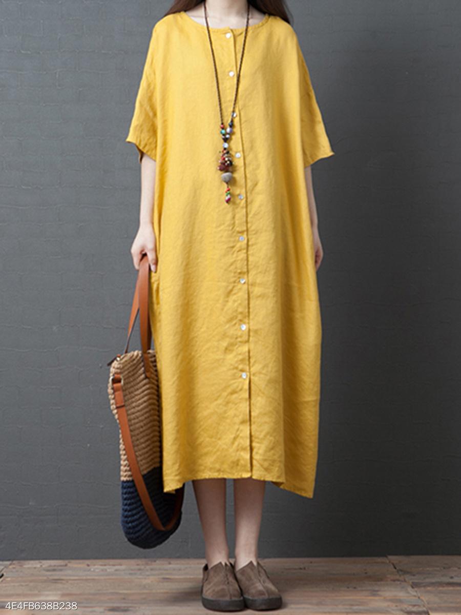 d222273a520 Oversize Round Neck Linen Plain Maxi Dress - fashionMia.com