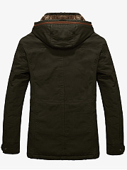 Hooded Flap Pocket Fleece Lined Plain Men Coat