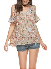 Summer  Cotton  Women  Open Shoulder  Floral Printed Short Sleeve T-Shirts