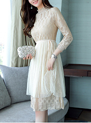 High Neck Hollow Out Plain Lace Midi Skater Dress