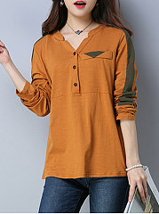 V-Neck  Decorative Button  Plain Long Sleeve T-Shirts