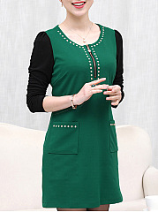 Round Neck  Beading Patch Pocket  Color Block Shift Dress
