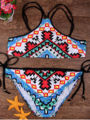 Spaghetti-Strap-Colorful-Tribal-Printed-Bikini