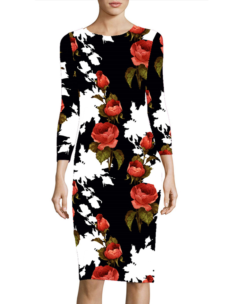 Round Neck Floral Printed Long Sleeve Bodycon Dress