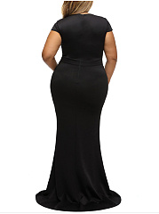 Rhinestone Sparkling V-Neck  Plain Plus Size Evening Dress