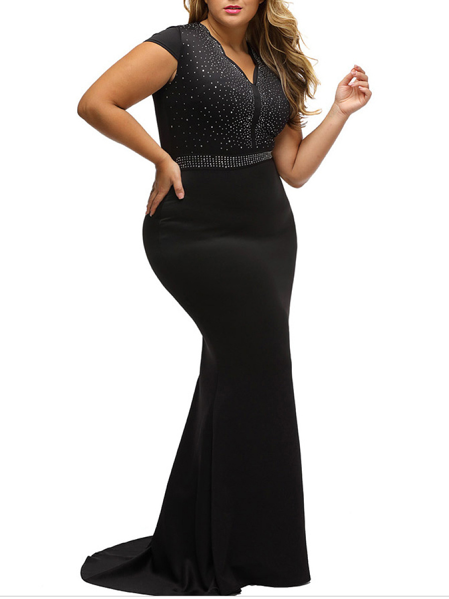 Rhinestone Sparkling V-Neck  Plain Plus Size Evening Dress