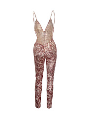 Spaghetti Strap Backless Glitter Slim-Leg Glamorous Jumpsuit