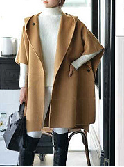 Hooded  Plain  Batwing Sleeve  Long Sleeve Coats