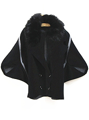 Faux Fur Collar Double Breasted Batwing Sleeve Coat