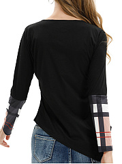 Round Neck  Patchwork  Checkered Long Sleeve T-Shirts