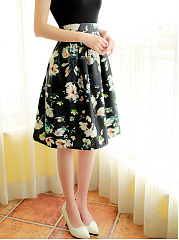 Floral Printed Flared Midi Skirt